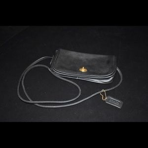 Authentic Vintage Coach Black Leather Dinky